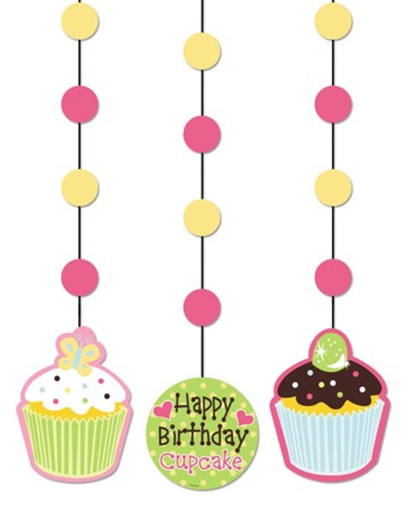 Sweet Treats Cupcakes Hanging Cutouts - Pack of 3
