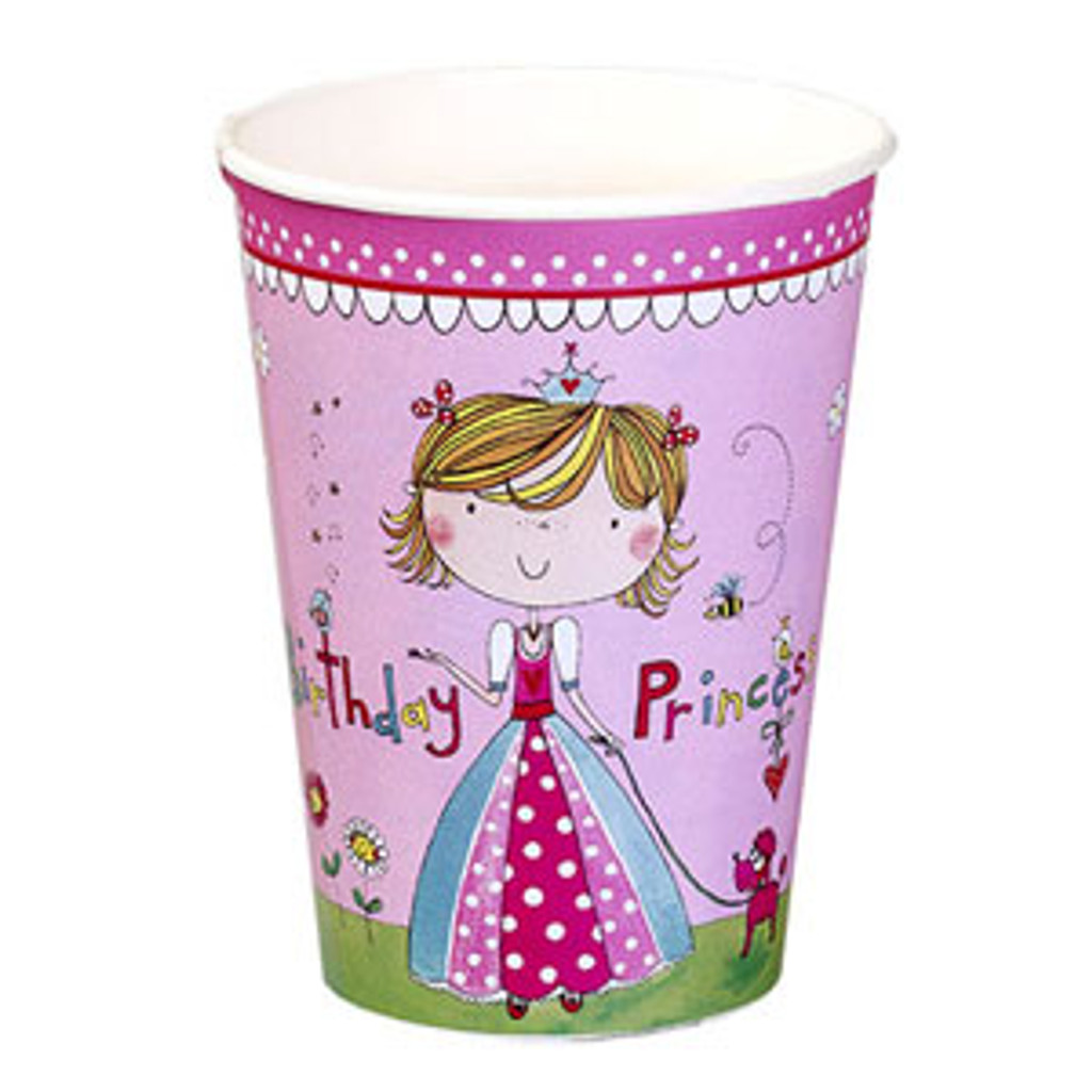 Birthday Princess Paper Cups - 8 Pack