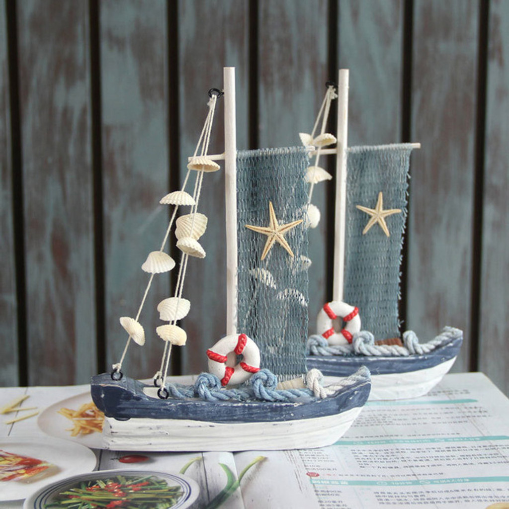 Blue and White Wooden Sail Boat with Shells - 18 x 21cm