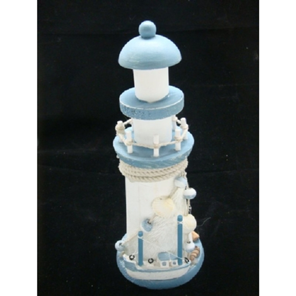 Wooden Light Blue & White Lighthouse with Boat & Shells - 22cm