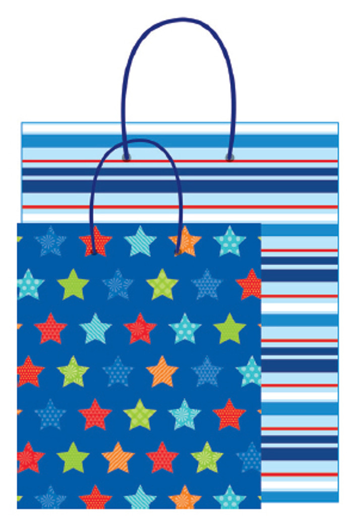 Blue Stars and Stripes Kraft Gift Bags - 2 Bags