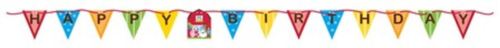 Farmhouse Fun Happy Birthday Flag Banner Bunting - 1.82 Metres