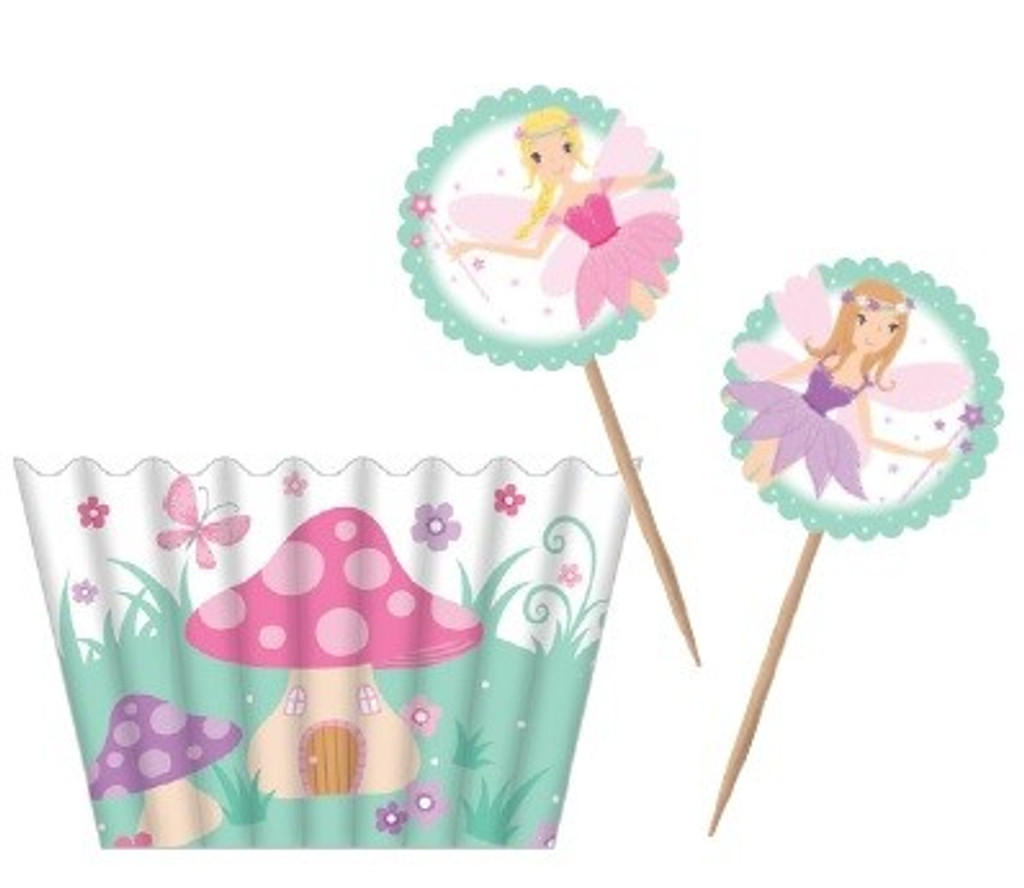 Fairy Garden Cupcake Cases and Picks - 12 Pack