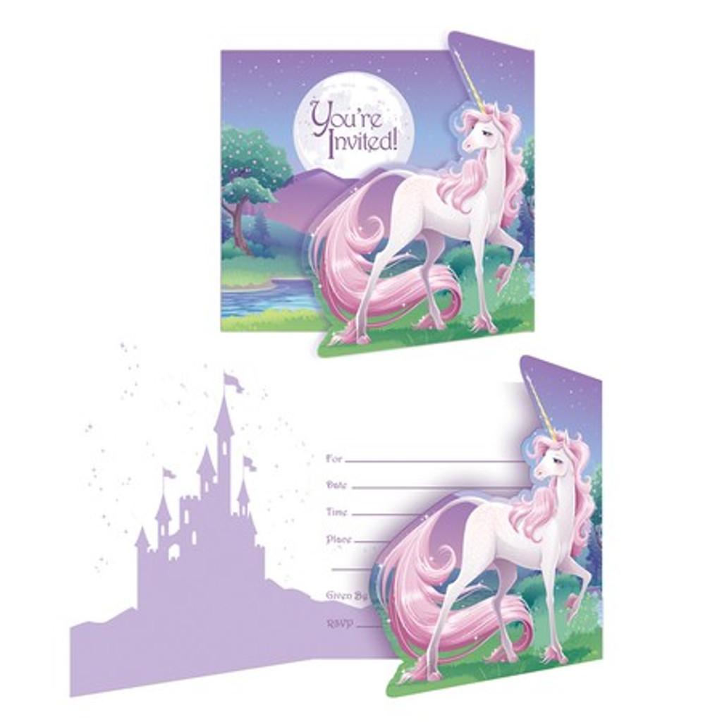 Unicorn Fantasy Invitations - 8 Pack