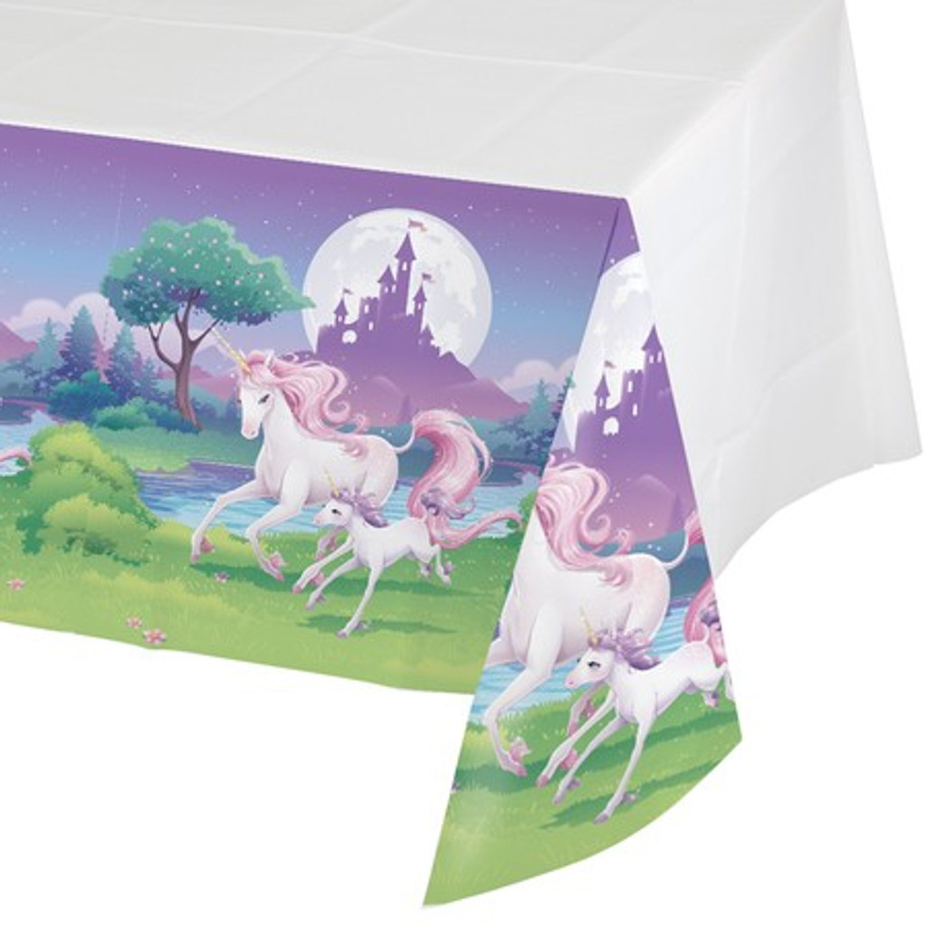 Unicorn Fantasy Plastic Tablecover - 137 cm x 259 cm
