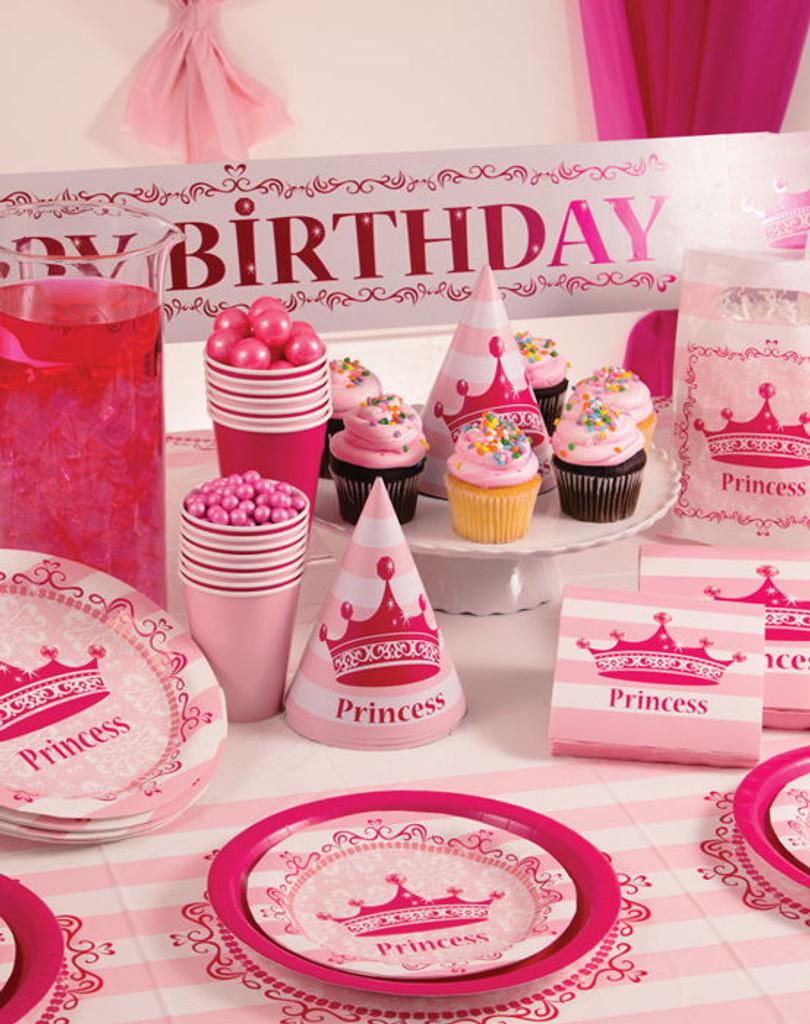 Pink Princess Beverage Napkins -  16 Pack
