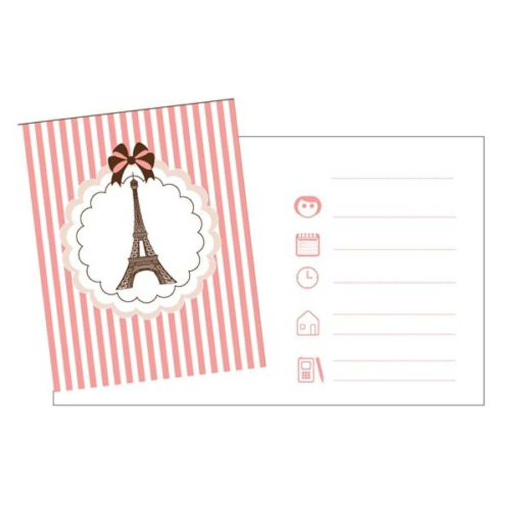Parisienne Invitations with Envelopes - Pack of 8