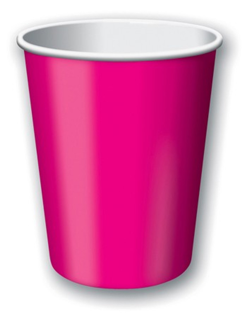 Hot Magenta Pink Paper Cups - Pack of 8