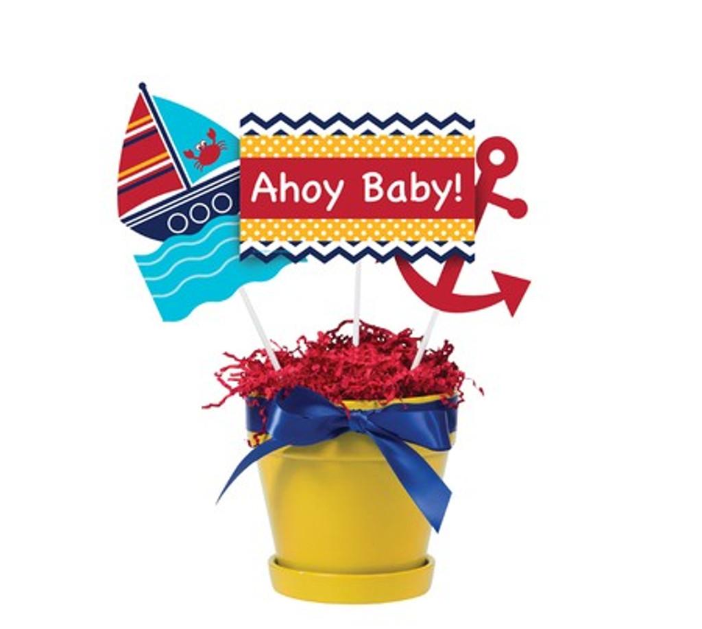 Ahoy Matey Baby Shower Centrepiece Sticks - 3 Signs