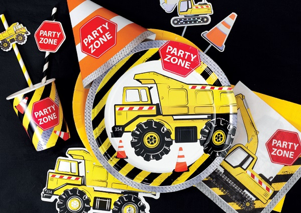 Construction Shapecut Party Invitations - 8 Pack