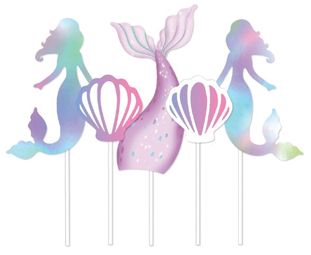 Mermaid Party Cake Toppers - Pack of 5
