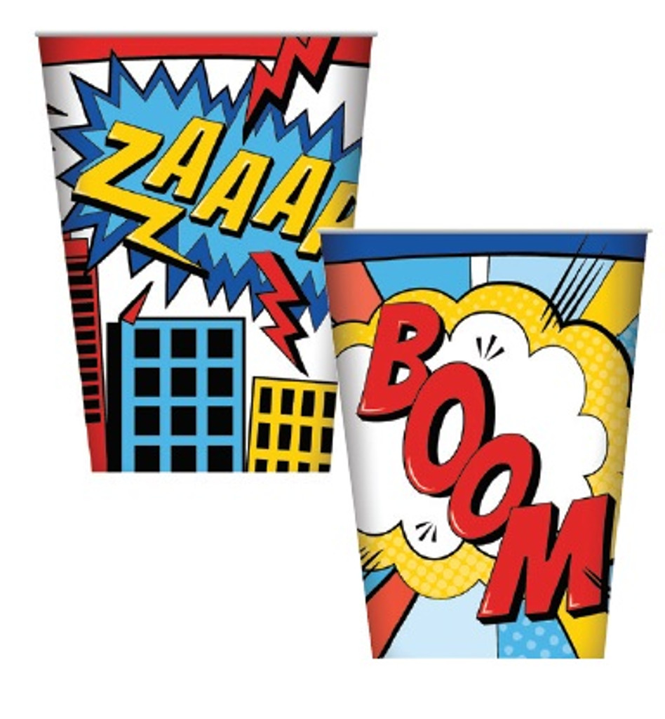Superhero Party Paper Cups - 8 Pack