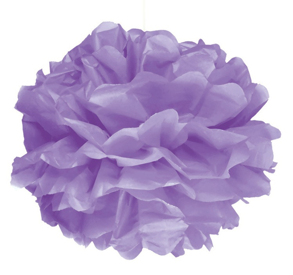 Purple Puff Ball Decoration - 40cm