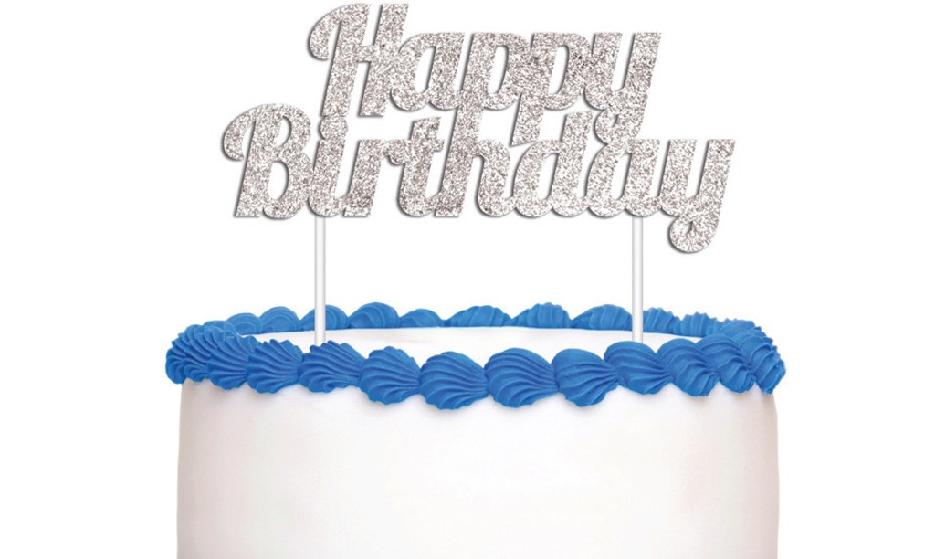 Happy Birthday Cake Topper - Silver