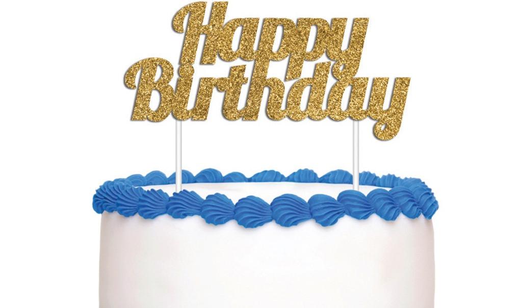 Happy Birthday Cake Topper - Gold