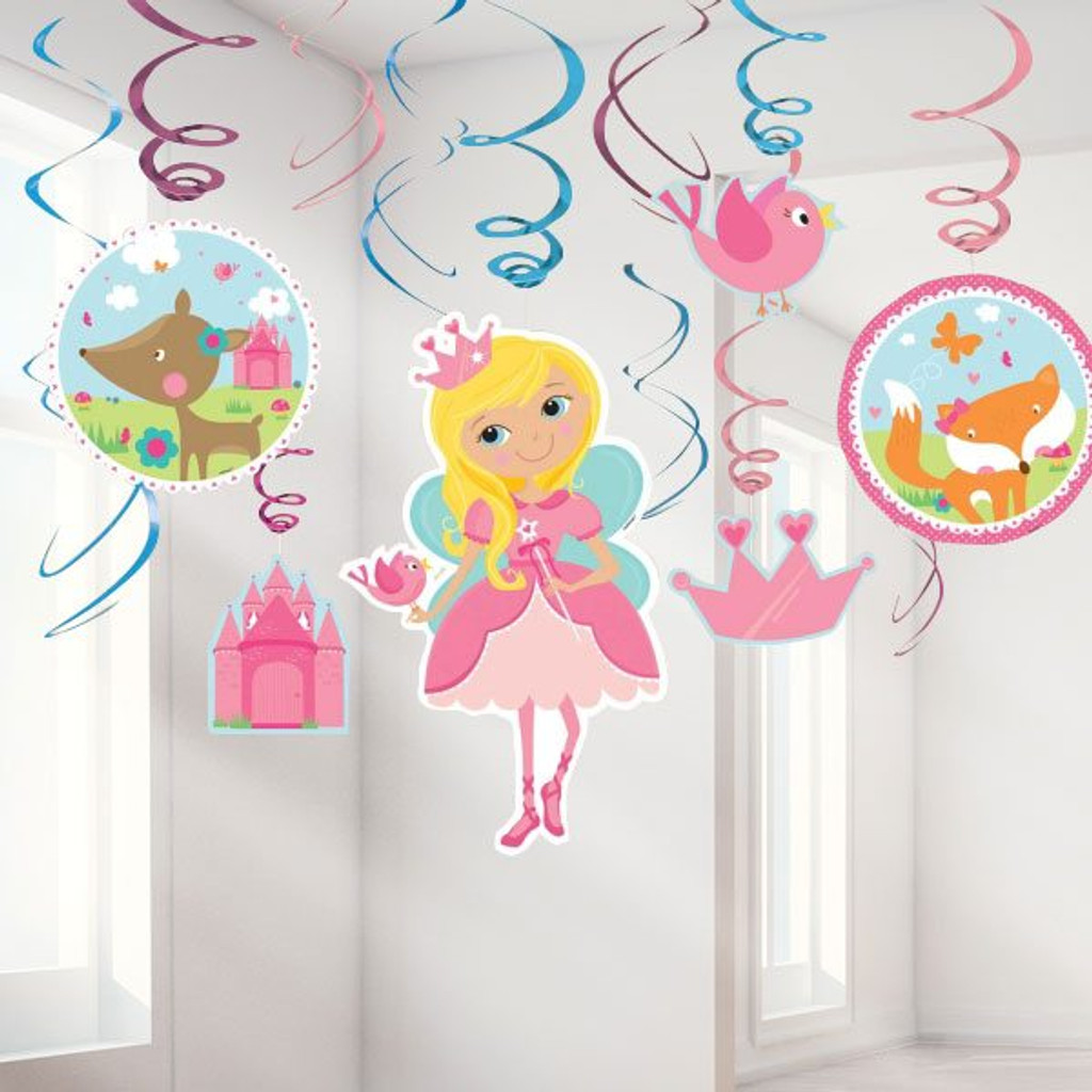 Woodland Princess Party Swirl Decorations - 6 Decorations