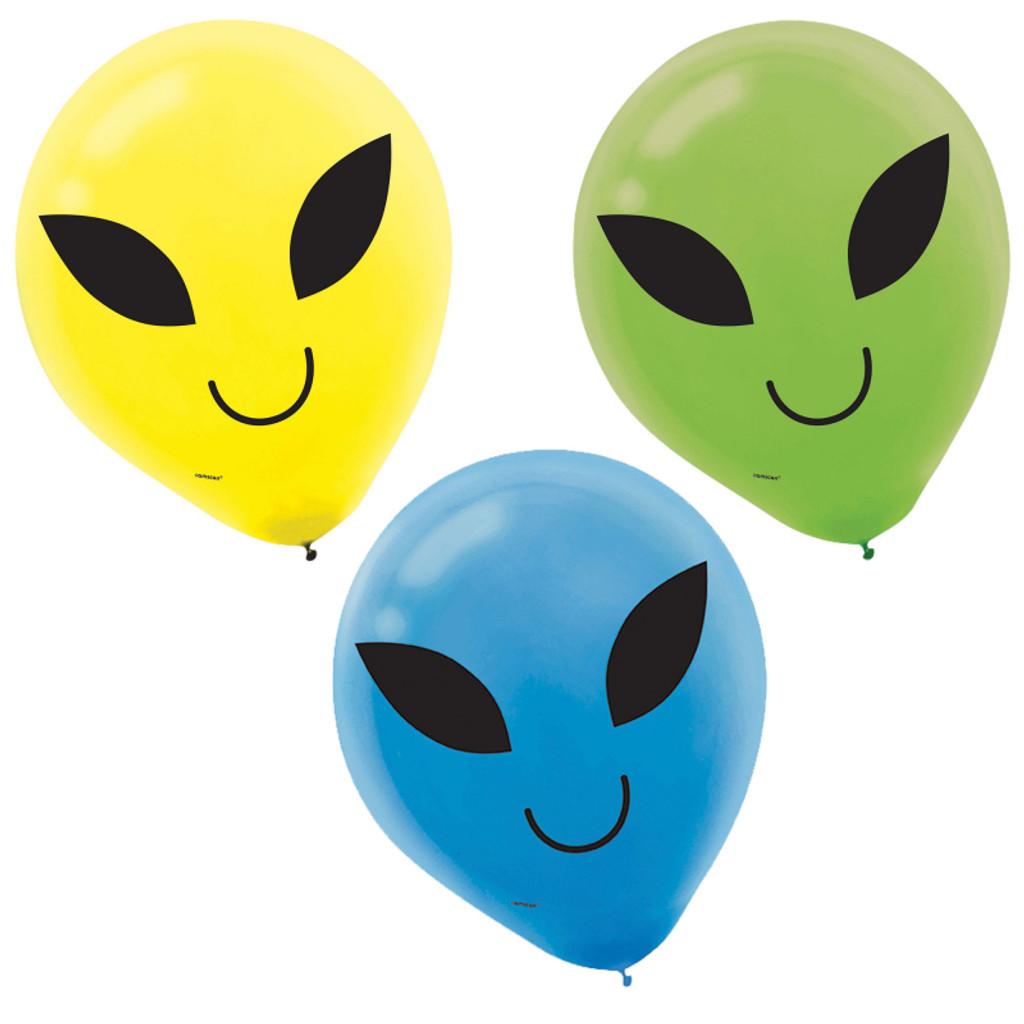 Blast Off Birthday 30.4 cm Alien Printed Latex Balloons - 15 Pack