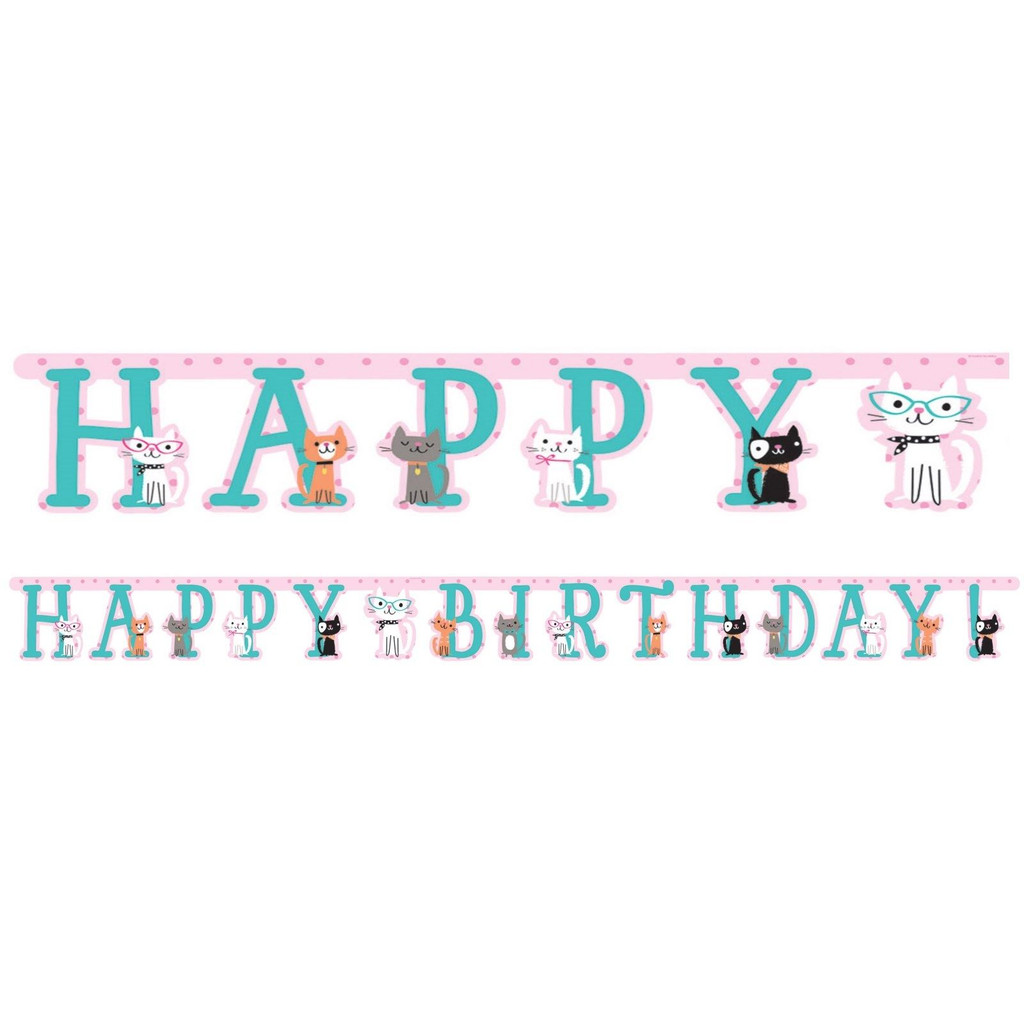 Purrfect Kitty Cat Happy Birthday Jointed Banner - 3.04 Metres