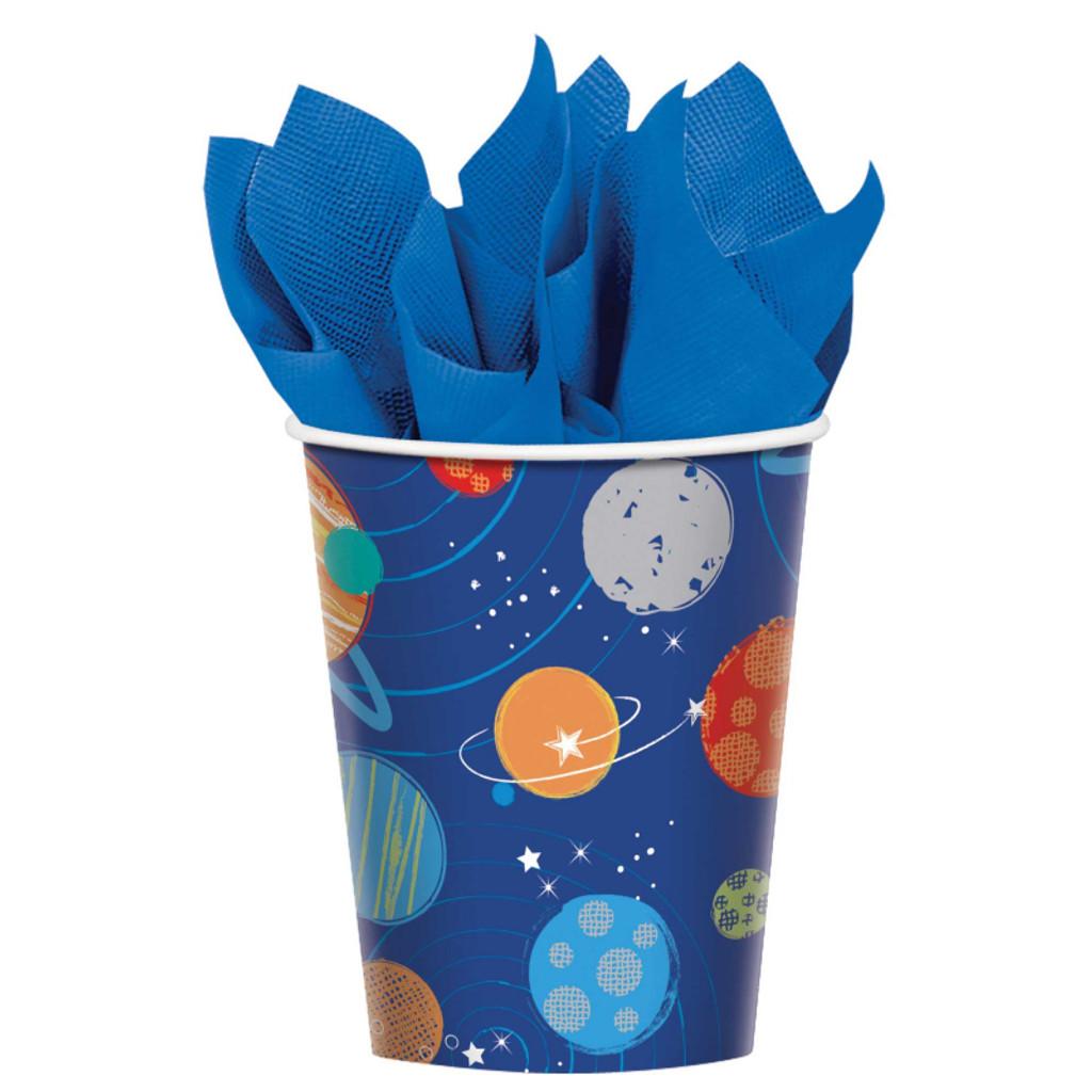 Blast Off Birthday 266 ml Paper Cups - 8 Pack