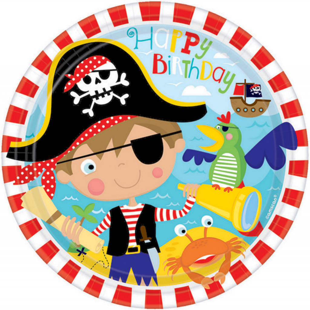 Little Pirate 22.9cm Round Paper Plates - 8 Pack