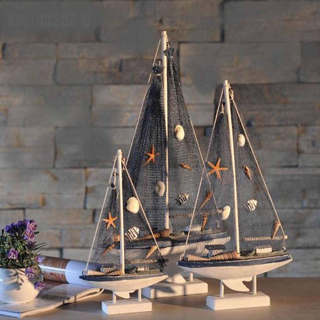 Wooden Nautical Fishing Boat - 27.5 cm