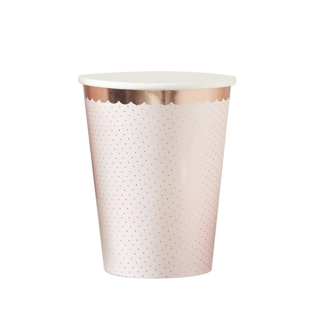 Rose Gold Foiled Polka Dot Blush Pink Paper Cups - Pack of 8