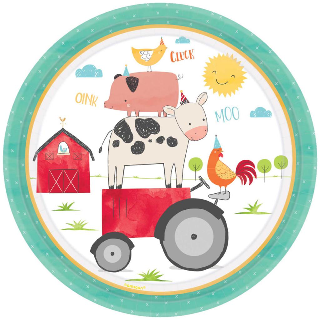 Barnyard Farm Animal Birthday Paper Dinner Plates - 8 Pack