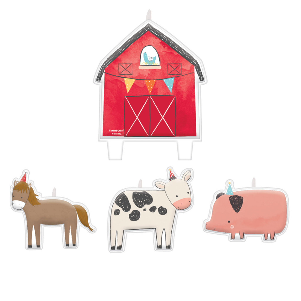 Barnyard Farm Animal Birthday Candle Set - 4 Pack