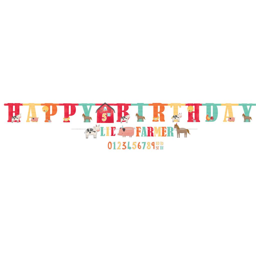 Barnyard Farm Animal Birthday Jumbo Happy Birthday Banner