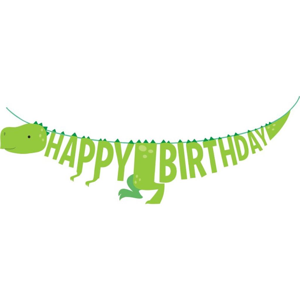 Dino Party Dinosaur Happy Birthday Ribbon Banner 1.67 Metres