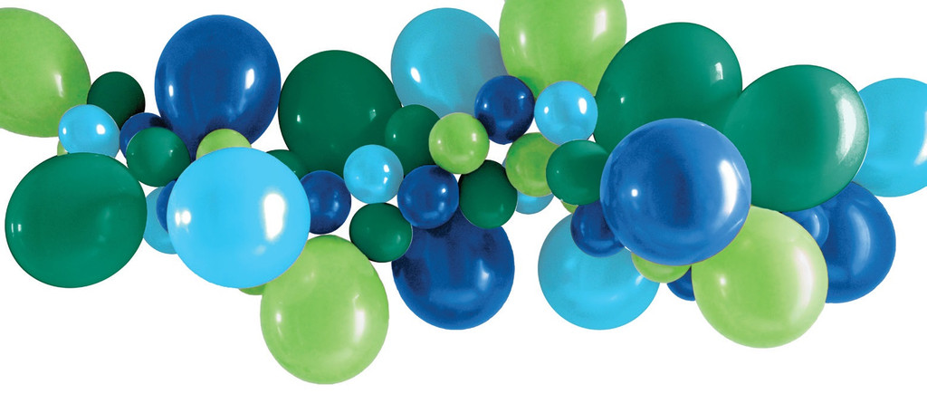 Green and Blue Balloon Garland - 40 Balloons and Tape