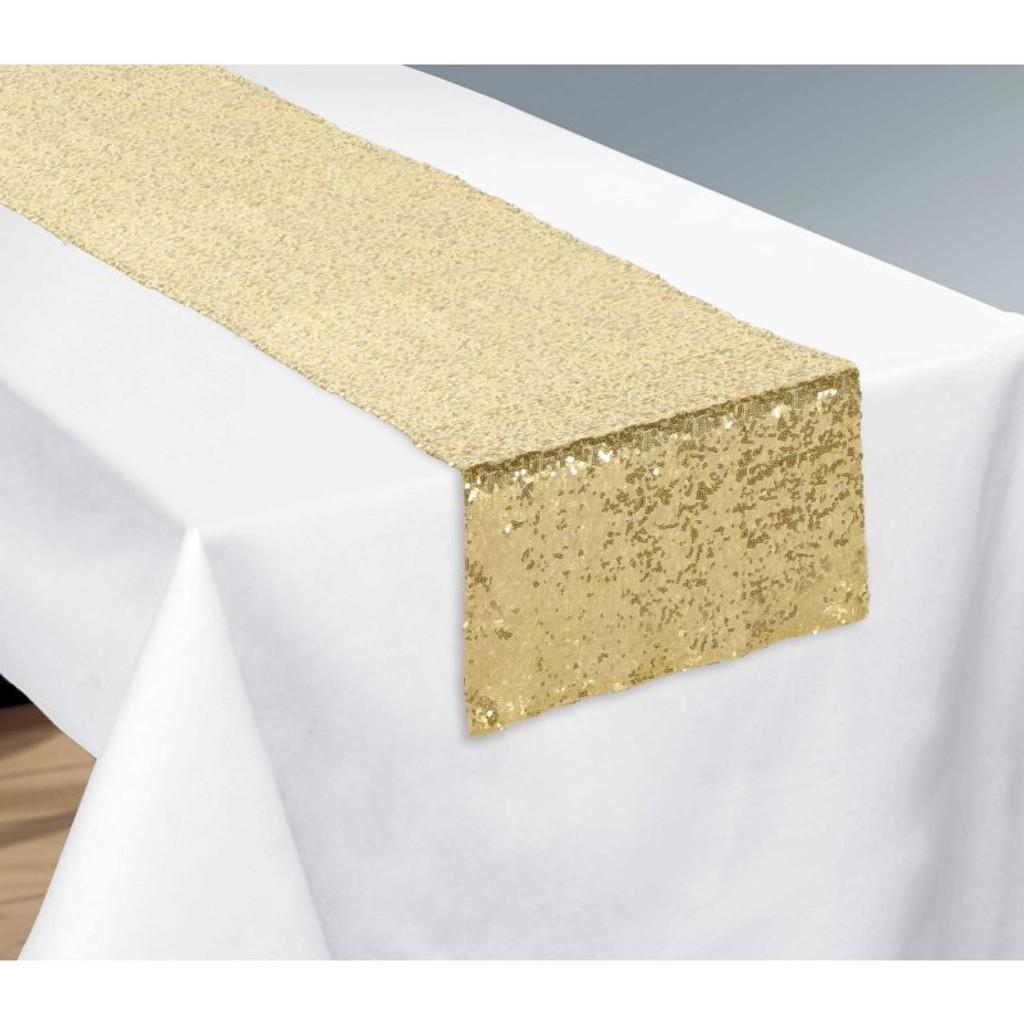 Gold Sequin Table Runner - 33cm x 182.8cm