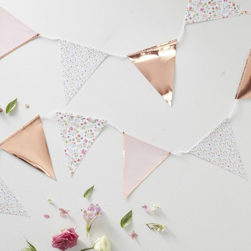 Rose and Gold Floral Bunting - 3.5 Metres