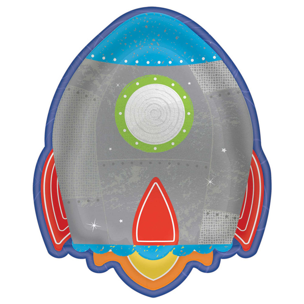 Blast Off Birthday Rocket Ship Plates - 8 Pack