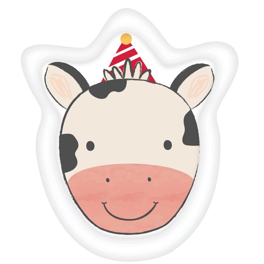 Barnyard Farm Animal Birthday Paper Cow Shaped Plates - 8 Pack