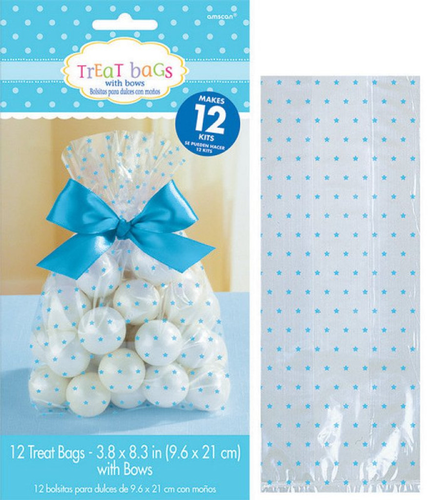 Blue Stars Clear Cello Treat Bags with Ribbon - 12 Pack