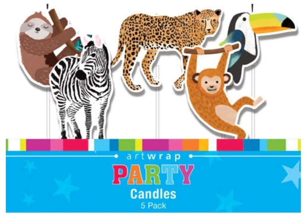 Jungle Party Pick Candles - 5 Pack