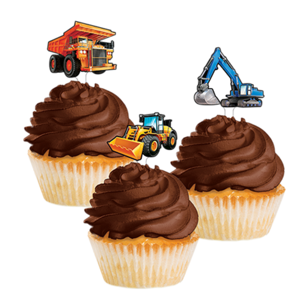 Big Dig Construction Cupcake Toppers - 12 Pack