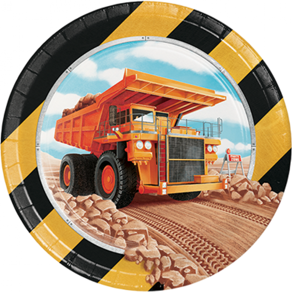 Big Dig Construction 17.4cm Lunch Plates - 8 Pack