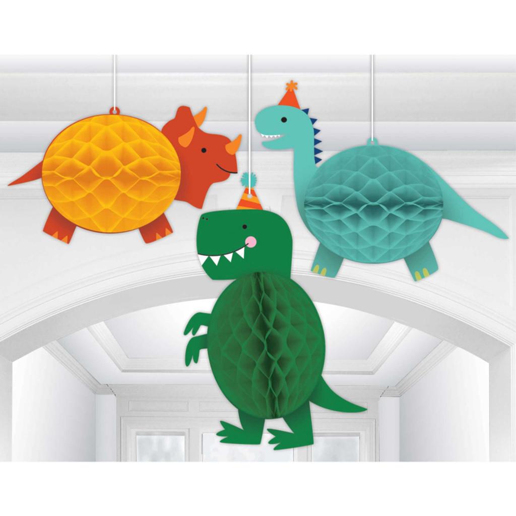 Dino-Mite Dinosaur Hanging Honeycomb Decorations - 3 Pack