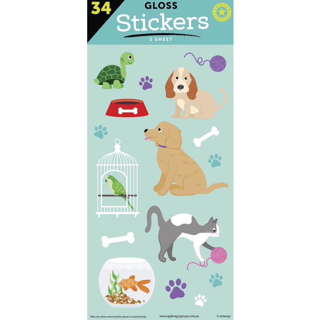 Pet Friends Gloss Sticker Sheet -34 Stickers