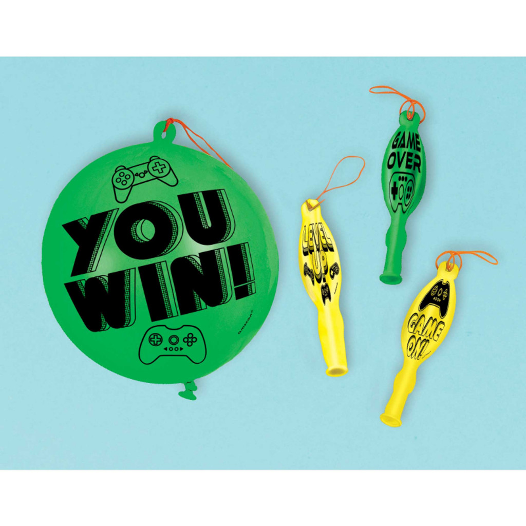 Level up Gamer Punch Balloons - 4 Pack