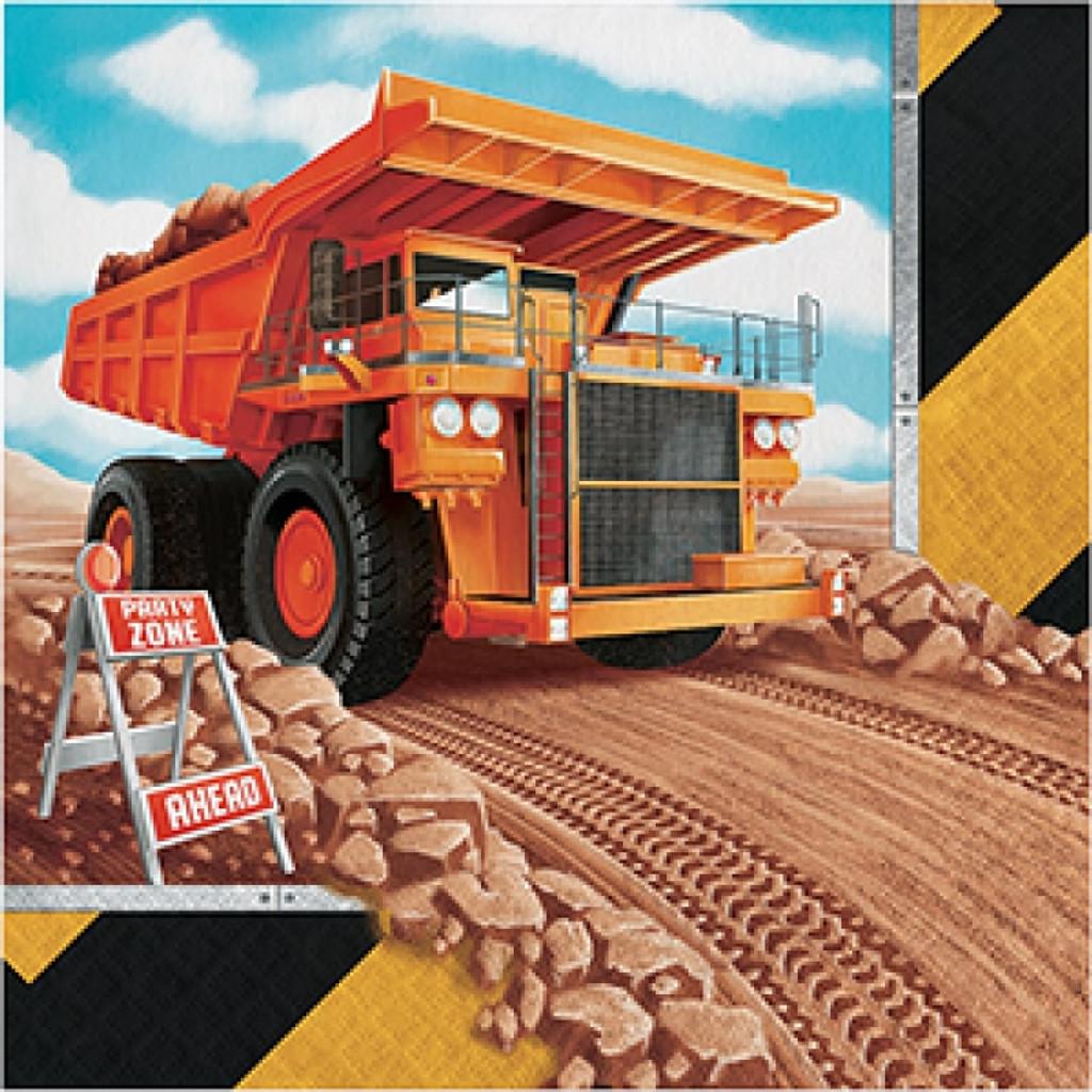 Big Dig Construction Lunch Napkins - 16 Pack