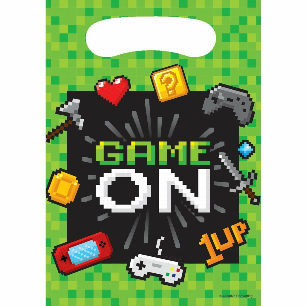 Game On Gaming Party Loot Bags - 8 Pack