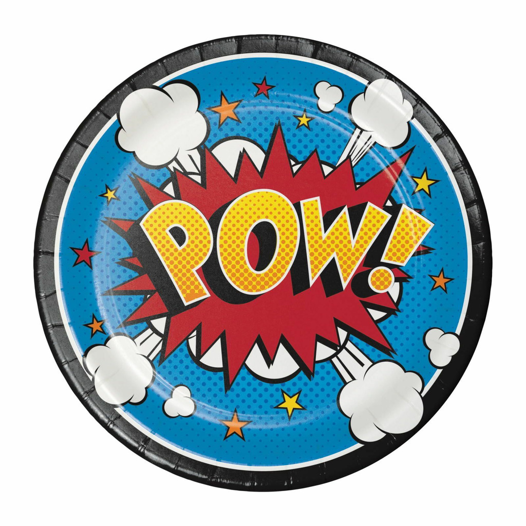 Superhero Slogans Lunch Plates - 8 Pack