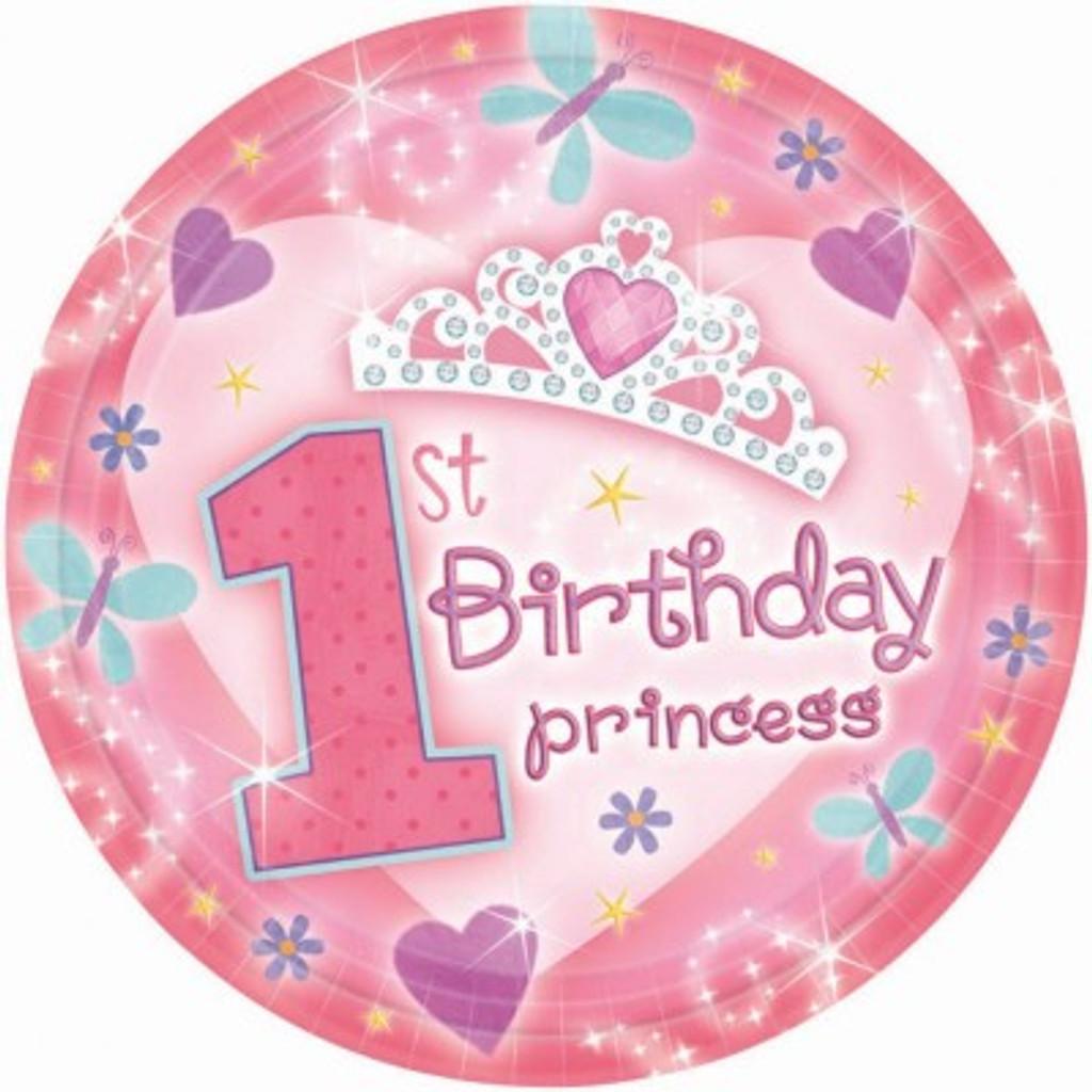 1st Birthday Princess Small Plates (17.7cm) - 18 Pack