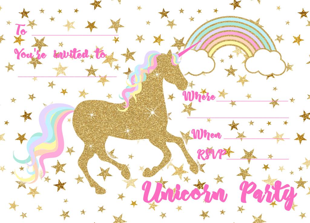 Unicorn Secret Reveal Invitations - 8 Pack
