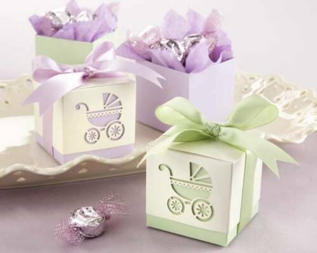 Baby's Day Out Laser-Cut Carriage Favour Boxes - Set of 24