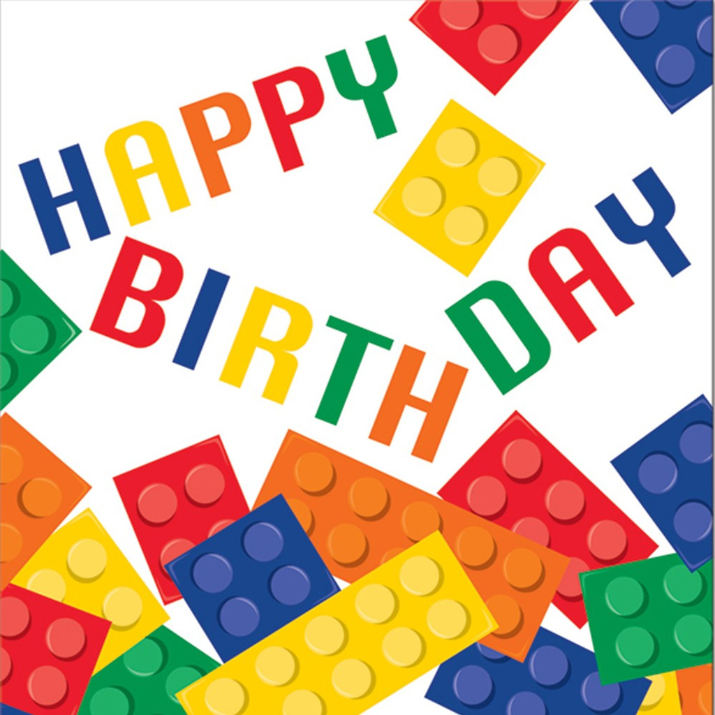 Lego Inspired Block Party Happy Birthday Luncheon Napkins - 16