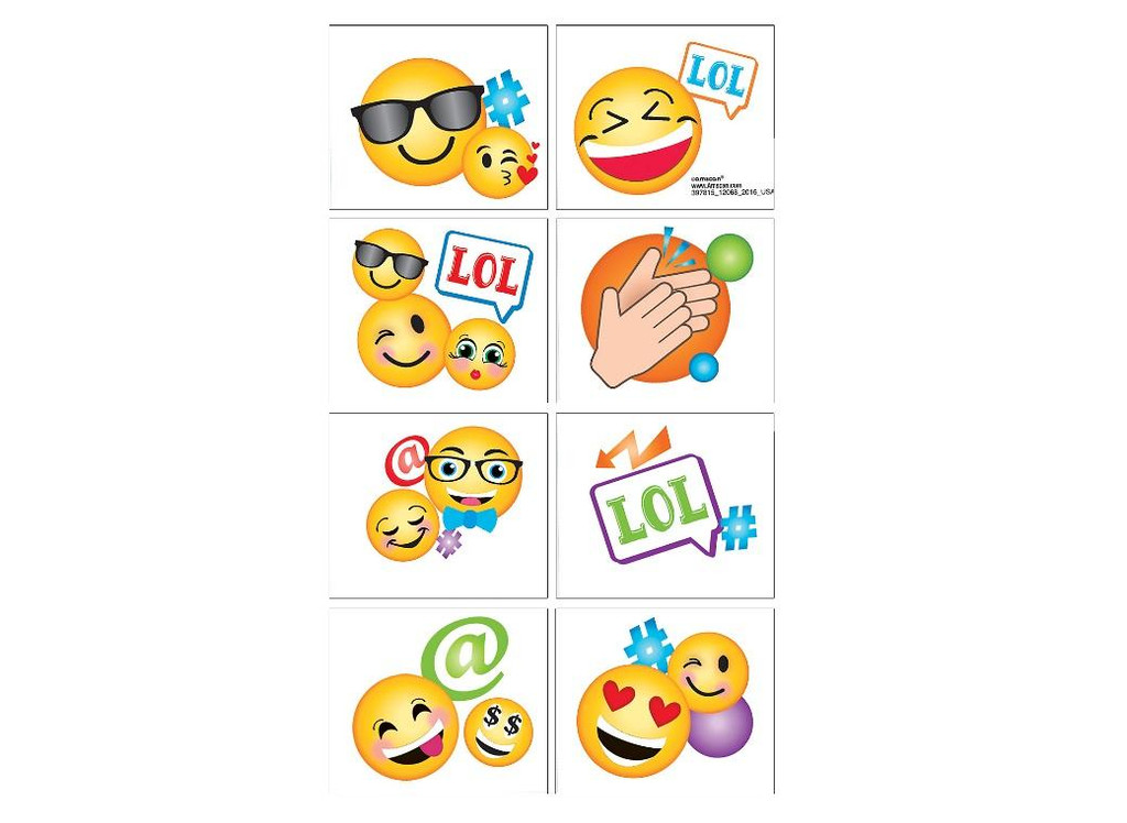 LOL Emoji Party Smiley Face Tattoos - 8 Tattoos Squares